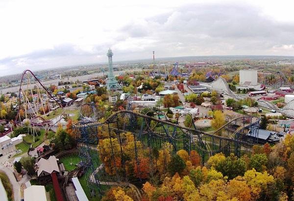 Il parco divertimenti Kings Island visto dall'alto